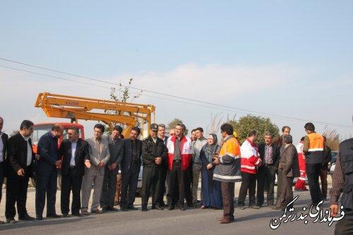 مانور ایمنی جاده های شهرستان ترکمن و کردکوی با حضور مدیر عامل هلال احمر استان