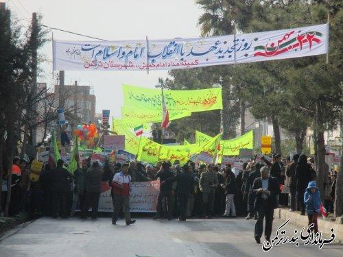 حضور پرشور مردم شهرستان ترکمن در راهپیمایی 22 بهمن 93