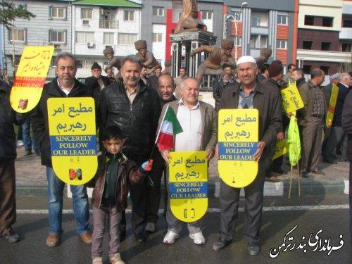 حضور گسترده مردم روستاهای بخش مرکزی و سیجوال شهرستان ترکمن در راهپیمایی 22 بهمن