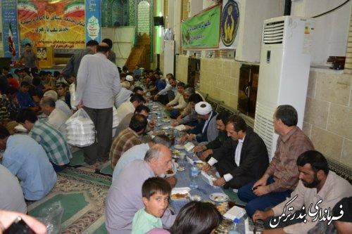 برپایی مراسم افطار و اطعام ایتام در مسجد جامع شهرستان ترکمن