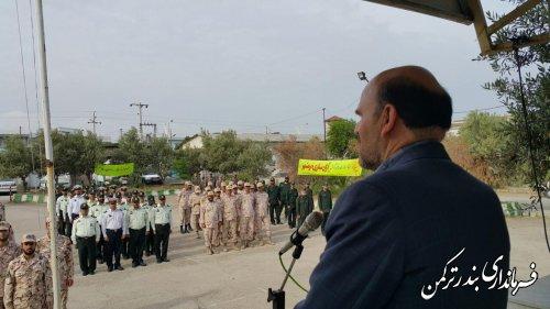 برگزاری مراسم صبحگاه مشترک نیروهای مسلح در شهرستان ترکمن