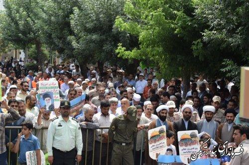گزارش تصویری از راهپیمایی باشکوه روز جهانی قدس در شهرستان ترکمن