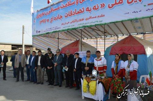 استقبال فرماندار شهرستان ترکمن از اولین مسافران نوروزی