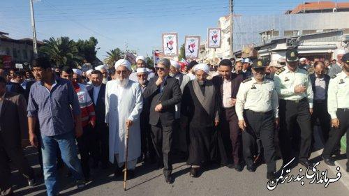 راهپیمایی باشکوه یوم ا.. 13 آبان در شهرستان ترکمن برگزار شد