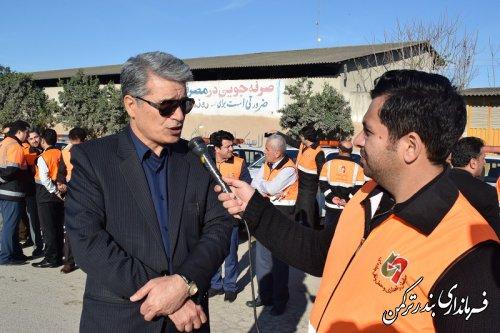 حضور فرماندار ترکمن در مانور استانی طرح راهداری زمستانه