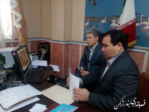 حضور فرماندار ترکمن در جلسه ویدئوکنفرانس هماهنگی بیست و یکمین جسنواره خیرین مدرسه ساز استان