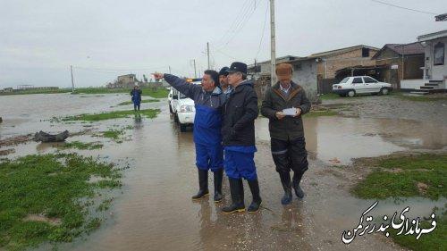 بازدید فرماندار ترکمن از وضعیت آبگرفتگی معابر و کانال های آب شهرستان