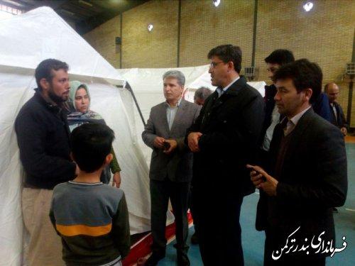 بازدید فرماندار ترکمن و نماینده مردم منطقه از محل های اسکان سیل زدگان شهرستان گمیشان در بندرترکمن