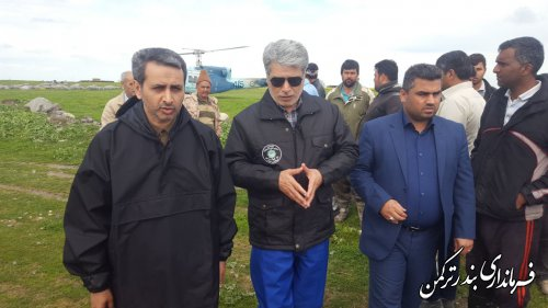 بازدید هوایی فرماندار ترکمن از مسیر رودخانه قره سو و روستاهای امتداد آن