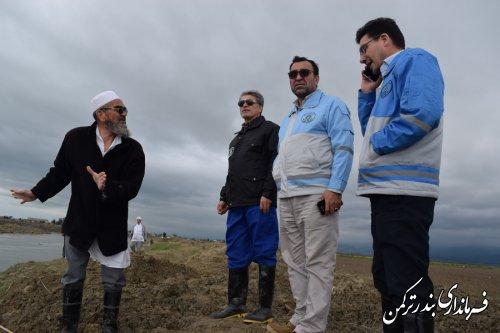 بازدید فرماندار ترکمن و مدیرکل امنیتی و انتظامی استانداری از مصب رودخانه قره سو