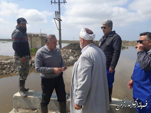 بازدید فرماندار ترکمن و فرماندار گرگان از محل پل نیازآباد بر روی رودخانه قره سو