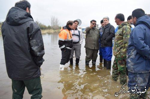 بازدید فرماندار ترکمن و فرمانده قرارگاه آبادانی و پیشرفت سپاه پاسداران کل کشور از پل نیازآباد و مصب رودخانه قره سو