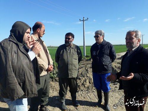 بازدید فرماندار ترکمن از وضعیت سیلاب و اقدامات جهت مهار آن در نقاط مختلف شهرستان