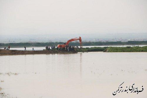 با ترمیم شکستگی دیواره رودخانه قره سو، خطر آبگرفتگی شهر بندرترکمن برطرف شد