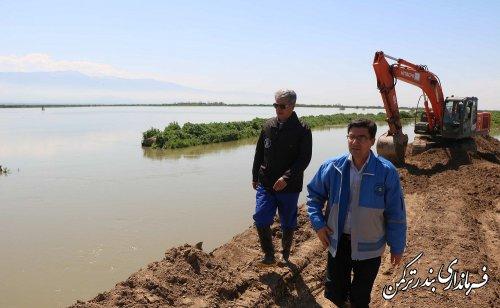 بازدید فرماندار  ترکمن از دیواره بازسازی شده رودخانه قره سو در روستای اسلام تپه