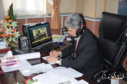 حضور فرماندار ترکمن در جلسه ویدئو کنفرانس انتخابات استان