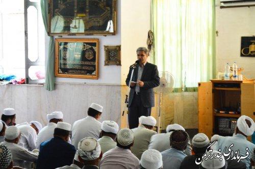 حضور فرماندار در نمازجمعه شهر بندر ترکمن