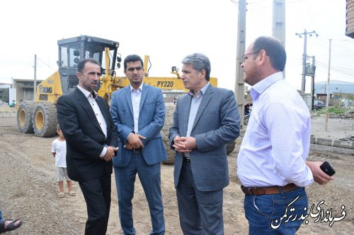بازدید فرماندار ترکمن از روند اجرای طرح هادی در روستاهای چپاقلی و صیدآباد