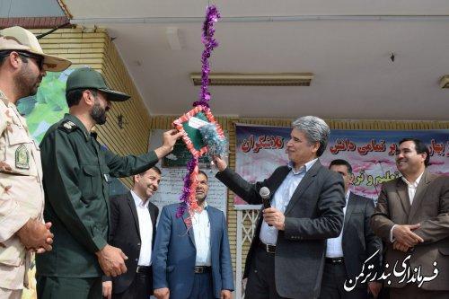 مراسم متمرکز  بازگشایی مدارس و هفته دفاع مقدس در شهرستان ترکمن برگزار شد