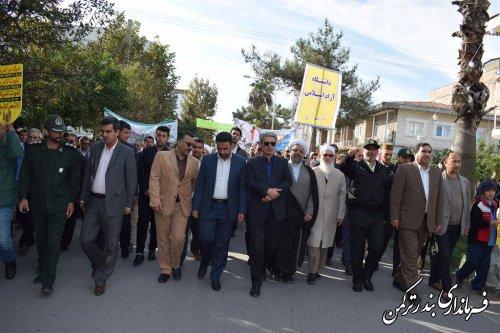حضور پرشور مردم شهرستان بندرترکمن در راهپیمایی یوم الله 13 آبان