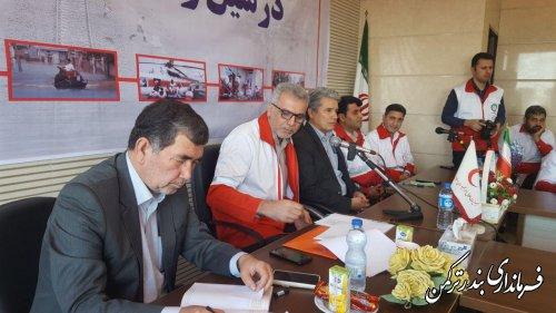 کنفرانس خبری مدیرعامل هلال احمراستان وفرمانداران بندر ترکمن وگمیشان با اصحاب رسانه