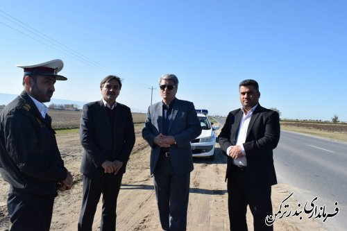 بازدید فرماندار  شهرستان ترکمن از محور بندرترکمن به آق قلا