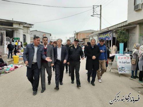حضور فرماندار و اعضای شورای تامین شهرستان بندرترکمن در روستای پنج پیکر