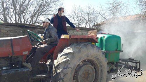 ضدعفونی و گندزدایی معابر عمومی روستاهای تابعه شهرستان بندرترکمن