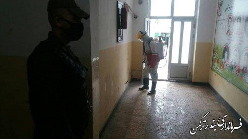 تب سنجی پرسنل و ضدعفونی مقرهای انتظامی بندرترکمن