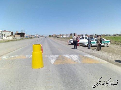 بازدید فرماندار شهرستان بندرترکمن از روند اجرای طرح فاصله گذاری اجتماعی در مبادی ورودی و تفرج گاه های شهرستان