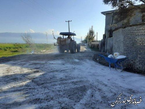 گندزدایی و آهک پاشی معابر روستای خمبرآباد