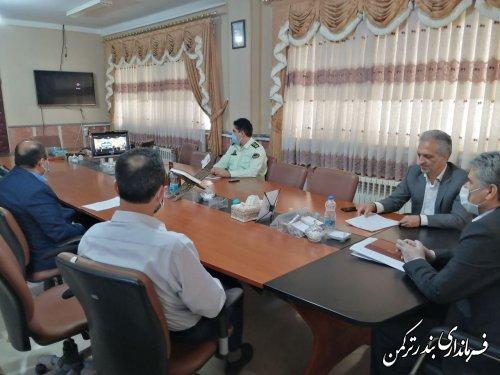 حضور فرماندار شهرستان بندرترکمن در نخستین جلسه ویدئوکنفرانس شورای اداری استان