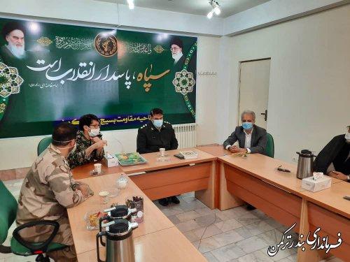 دیدار فرماندار و جمعی از مسئولین شهرستان با فرمانده ناحیه مقاومت بسیج سپاه ترکمن