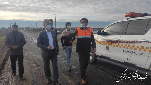 بازدید فرماندار ترکمن از اجرای پروژه روکش آسفالت محور روستای گامیشلی نزار