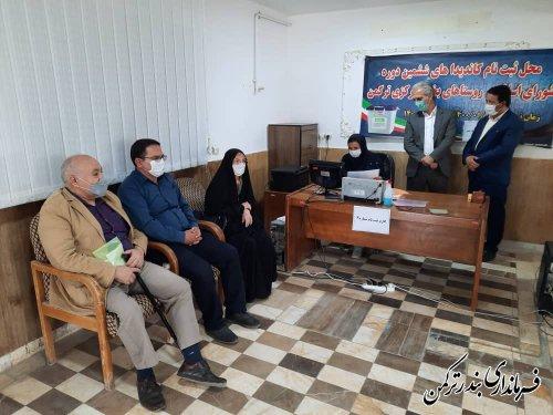 بازدید فرماندار  ترکمن از روند ثبت نام داوطلبان عضویت در شوراهای اسلامی روستا در بخشداری های تابعه
