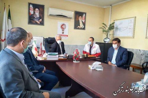 دیدار فرماندار ترکمن با رئیس و کارکنان جمعیت هلال احمر شهرستان