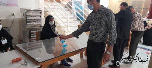 ضدعفونی شعب اخذ رای شهرستان ترکمن پیش از آغاز رای گیری