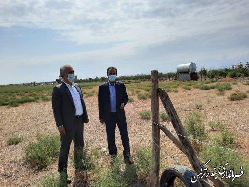 بازدید فرماندار ترکمن از عرصه های مورد تقاضای حذف یا جابجایی کوچه در روستای اورکت حاجی