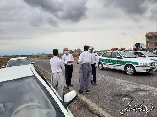 نظارت و بازدید فرماندار ترکمن از روند اجرای طرح محدودیتها در شهرستان