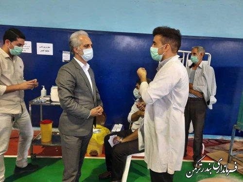 بازدید فرماندار ترکمن از مرکز واکسیناسیون همگانی ویروس کرونا در شهرستان