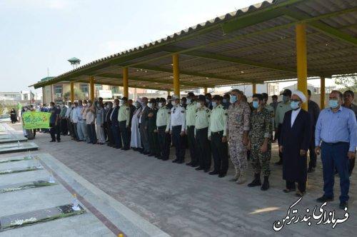 غبارروبی مزار شهدای بهشت فاطمه شهرستان ترکمن