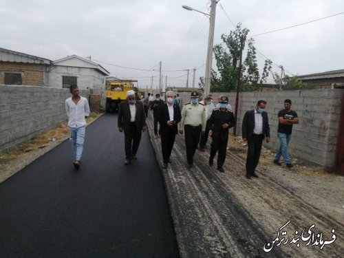 بازدید فرماندار ترکمن از روند اجرای طرح هادی روستای یموت